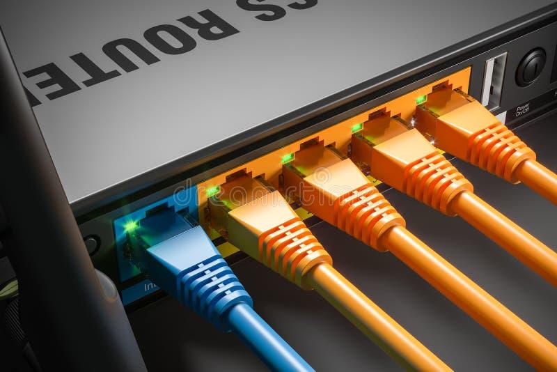 Câbles LAN branchés dans des ports de routeur dans le serveur à la maison Macro tir 3d illustration stock