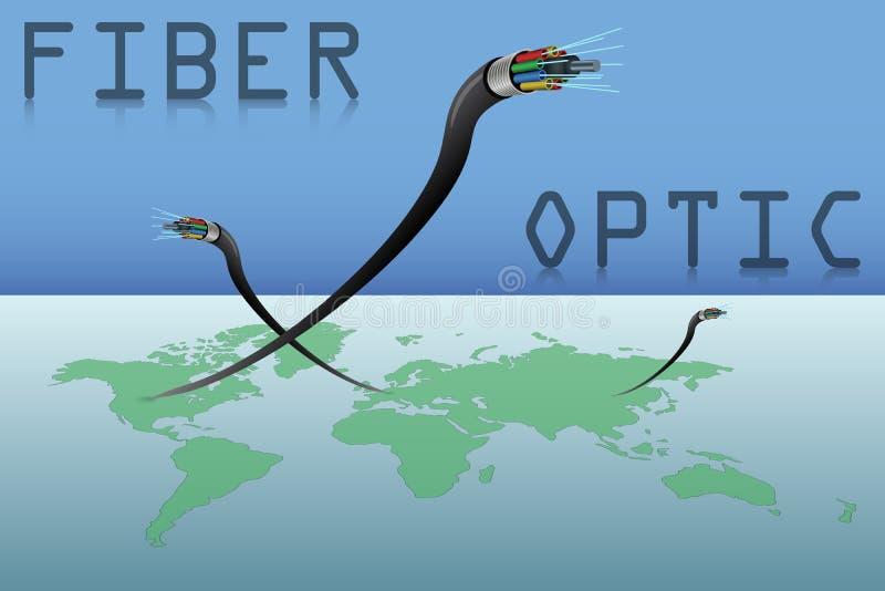 Câbles optiques de fibre et carte du monde illustration stock