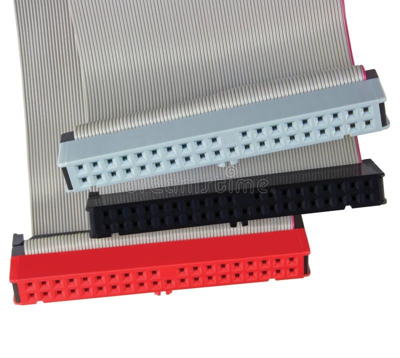Câbles plats de connecteurs pour l'unité de disque dur d'ordinateur image libre de droits