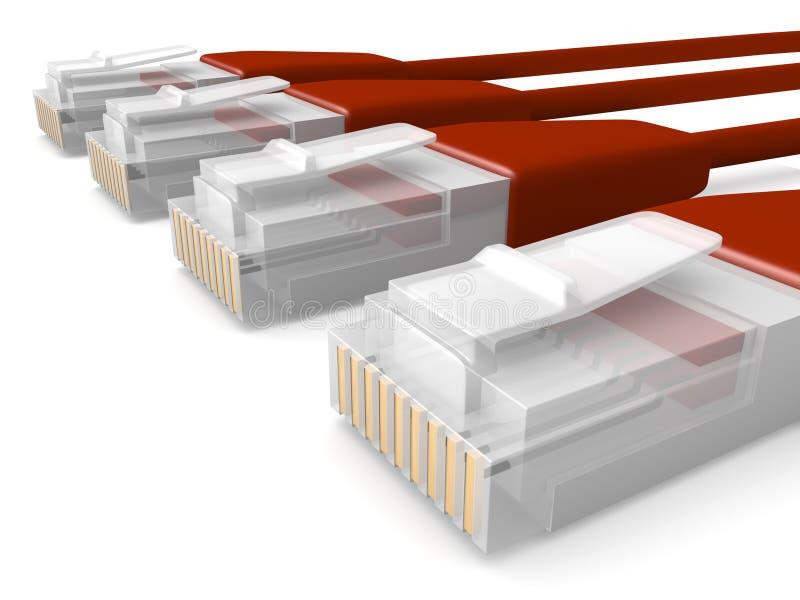 Câbles rouges de réseau illustration de vecteur
