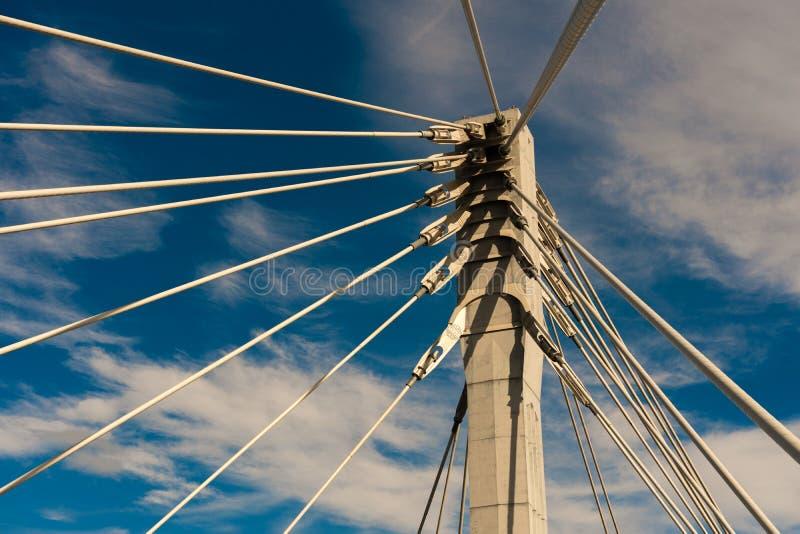 Câblez le pont resté contre le ciel bleu, plan rapproché photo libre de droits