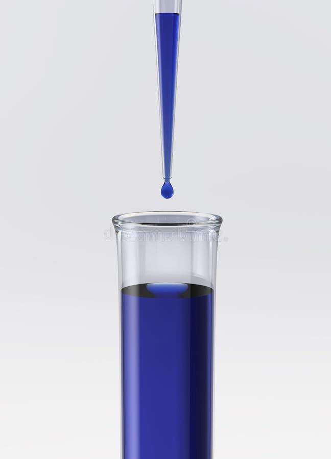 Câmara de ar de teste com pipeta e líquido azul ilustração stock