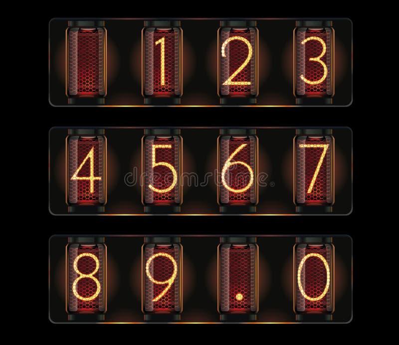 Câmara de ar do nixie do vetor com dígitos ilustração royalty free