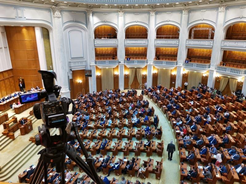 Câmara de deputados, palácio do parlamento, Romênia imagens de stock