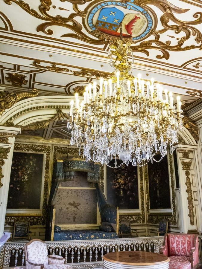 Câmara de Duc de Montmorency no castelo de Modave ou castelo das contagens de Marchin em Bélgica imagem de stock royalty free