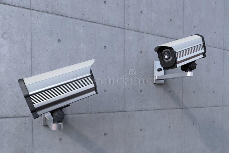 Câmara de segurança dois que presta atenção a cada um ilustração do vetor