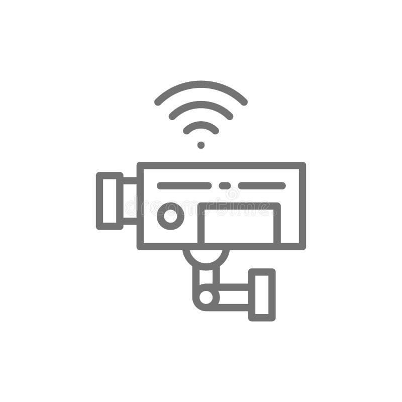 Câmara de segurança, fiscalização, linha ícone do CCTV ilustração do vetor