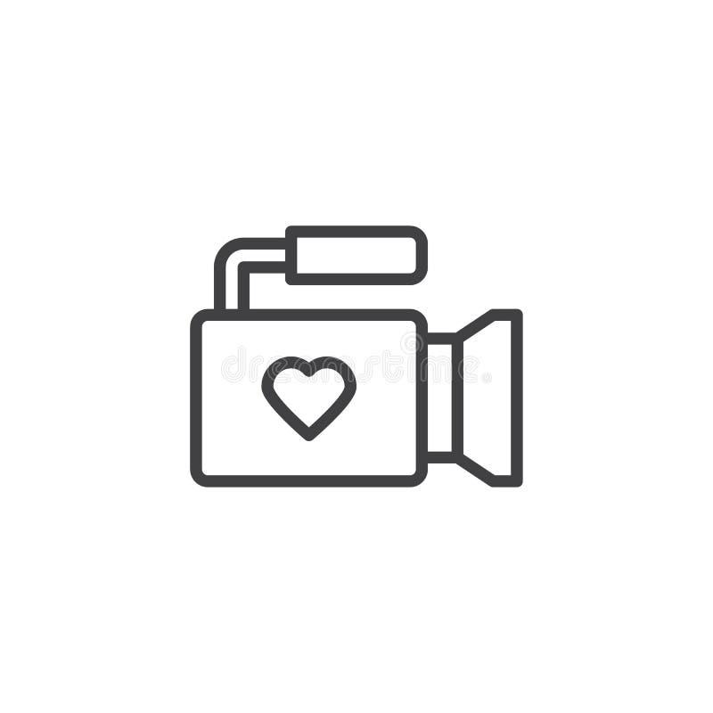 Câmara de vídeo com linha de coração ícone ilustração do vetor