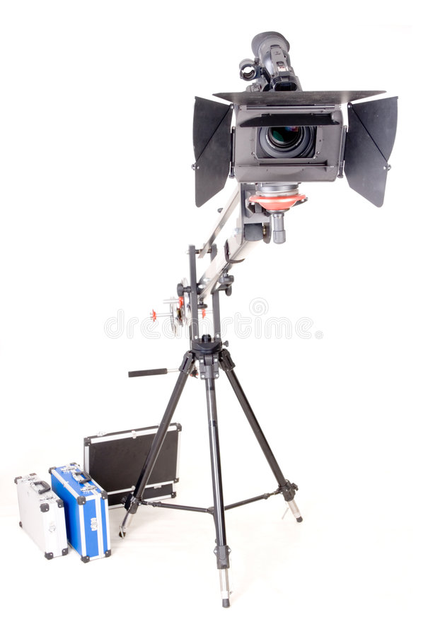 Câmara de vídeo de Hd no guindaste fotos de stock