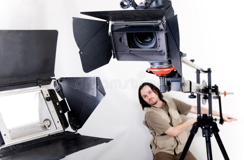 Câmara de vídeo de Hd no guindaste fotos de stock royalty free