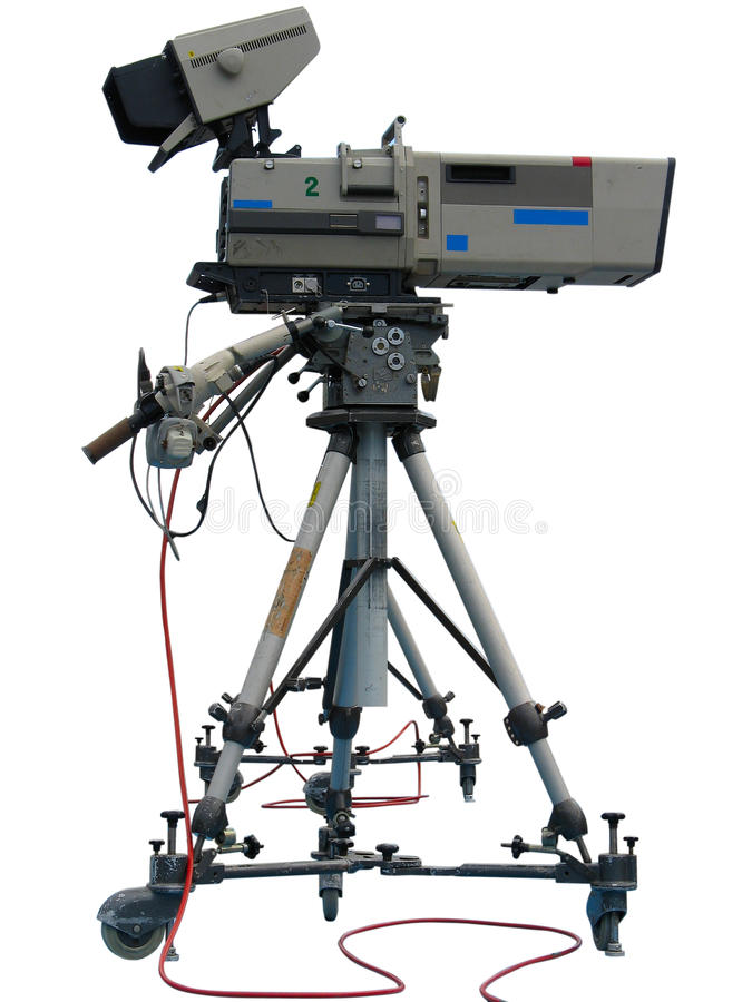 Câmara de vídeo digital do estúdio profissional da tevê imagem de stock