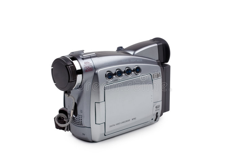 Câmara de vídeo isolada no branco foto de stock