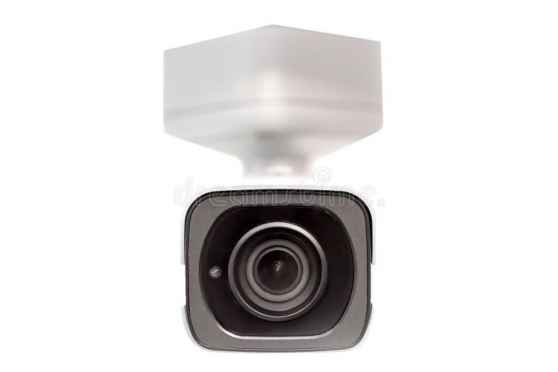 Câmara de vigilância branca CCTV isolado no branco Opinião dianteira da lente da cara Fim acima Sob o conceito da abóbada fotos de stock