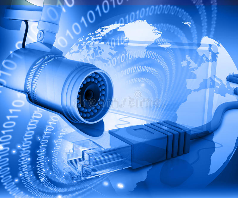 Câmara de vigilância com mundo digital fotografia de stock royalty free