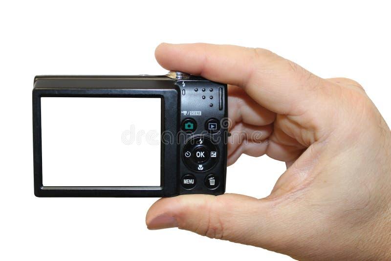 A câmara digital em uma mão isolada fotos de stock royalty free