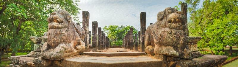 A câmara do Conselho, Polonnaruwa, Sri Lanka Panorama fotografia de stock