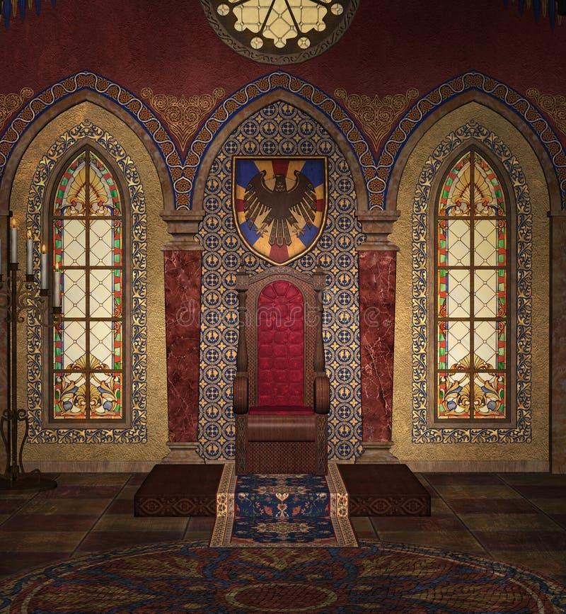 Câmara do trono em uma sala gótico ilustração royalty free