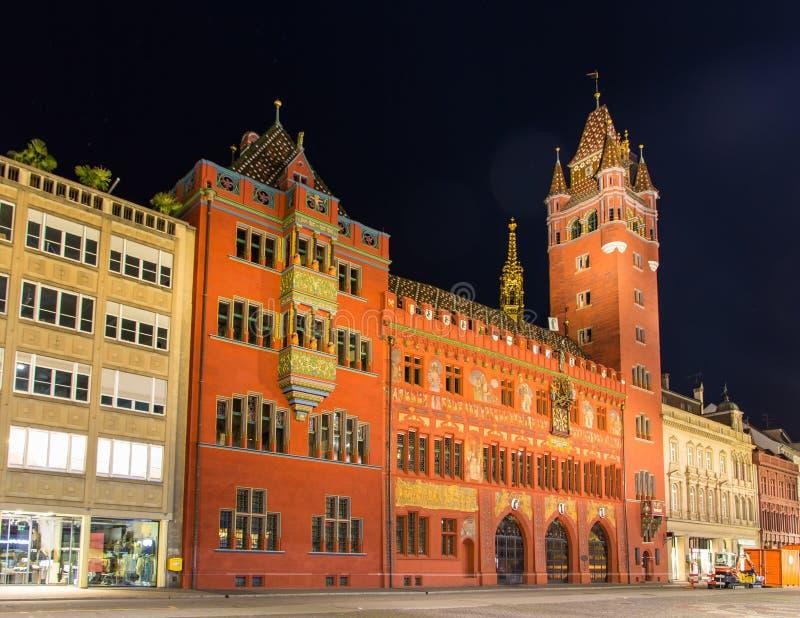 Câmara municipal de Basileia (Rathaus) na noite - Suíça fotografia de stock royalty free