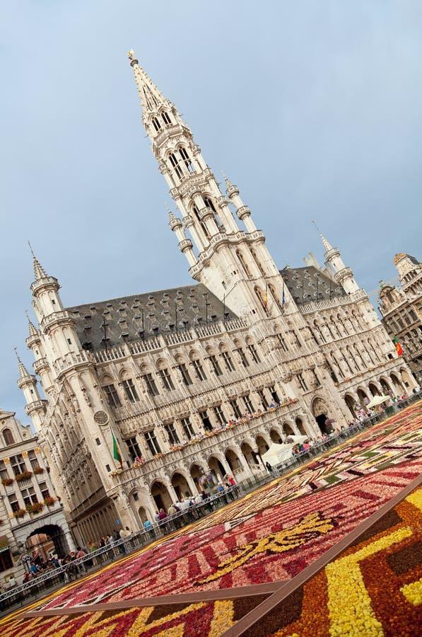 Câmara municipal de Bruxelas durante o festival do tapete da flor em Grand Place imagem de stock