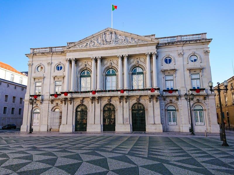 Câmara municipal de Lisboa/Camara Municipal, Lisboa, Portugal Bandeja para baixo à rua fotos de stock