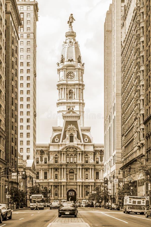 Câmara municipal de Philadelphfia da rua larga sul - marco histórico nacional americano fotografia de stock royalty free