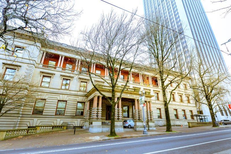 Câmara municipal de Portland na estação do inverno imagens de stock royalty free