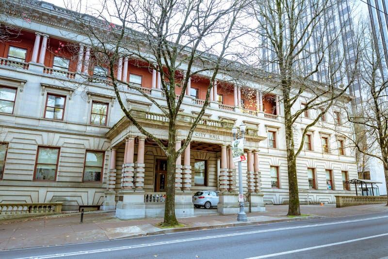 Câmara municipal de Portland na estação do inverno foto de stock royalty free
