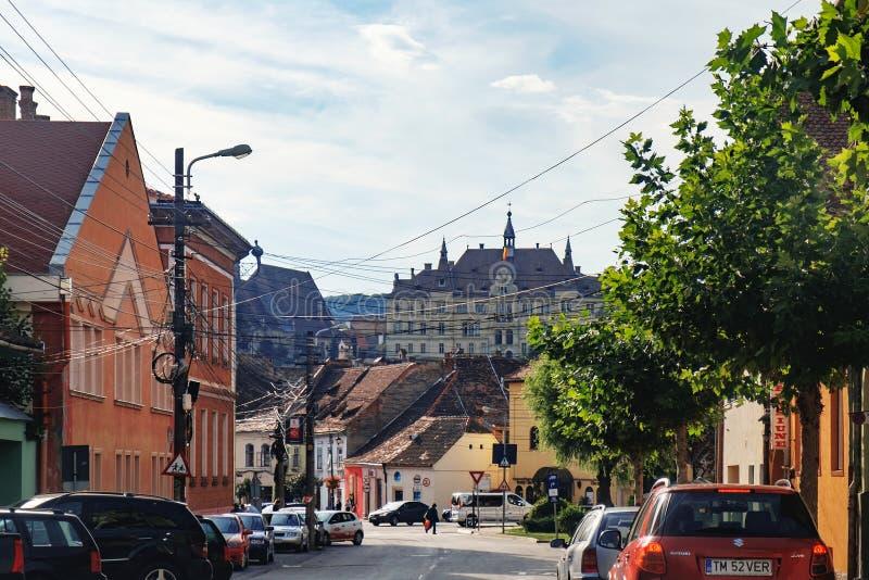 Câmara municipal de Sighisoara, Romênia fotografia de stock