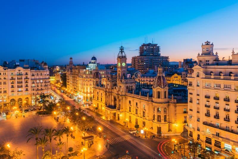 Câmara municipal de Valencia Spain no crepúsculo fotografia de stock royalty free