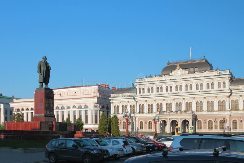 Câmara municipal e monumento a Lenin, Liberty Square Kazan, Rússia imagem de stock royalty free