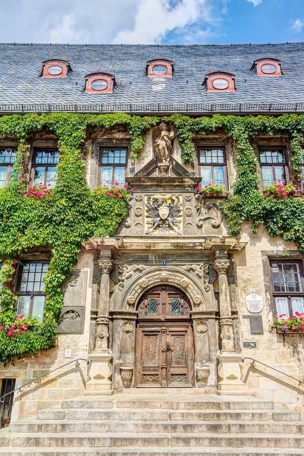 Câmara municipal em Quedlinburg, Alemanha imagens de stock