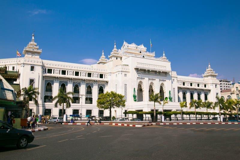 Câmara municipal em Yangon, Myanmar imagens de stock