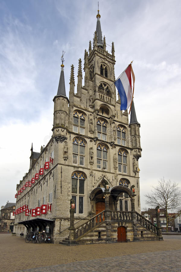 Câmara municipal medieval em Países Baixos do Gouda foto de stock royalty free