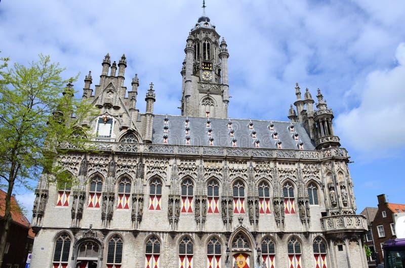 A câmara municipal tarde-gótico de Middelburg, Países Baixos imagem de stock