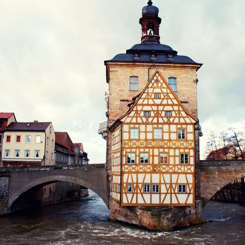 A câmara municipal velha em Bamberga (Alemanha) no inverno foto de stock royalty free