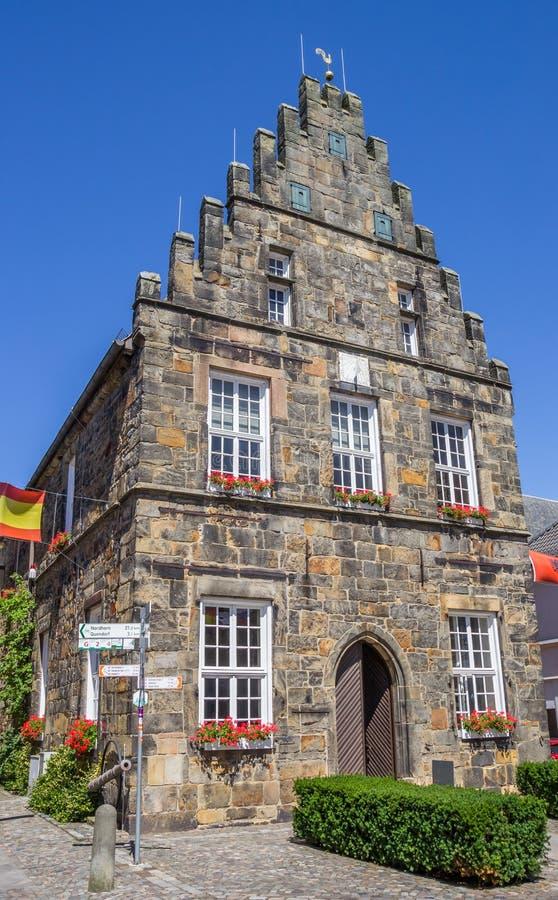 Câmara municipal velha no centro de Schuttorf fotografia de stock royalty free