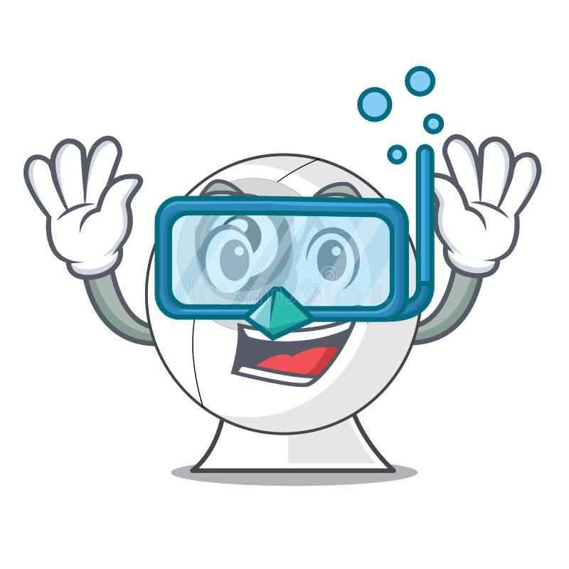 Câmara web de mergulho no caráter da tabela do computador ilustração do vetor