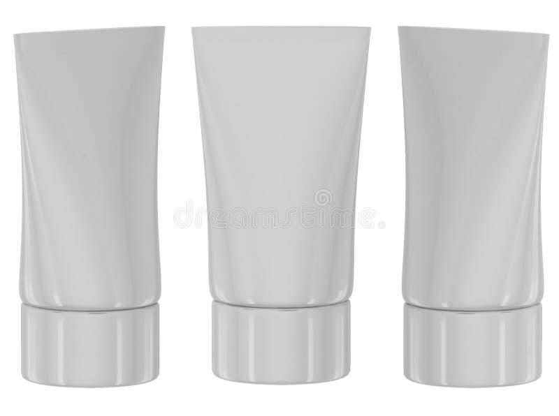 Câmaras de ar cosméticas brancas no backgrounde branco ilustração do vetor