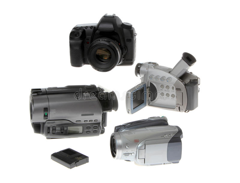 Câmaras de vídeo modernas isoladas no branco foto de stock royalty free