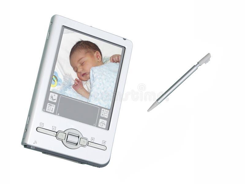 Câmera & estilete de Digitas PDA sobre o branco fotografia de stock royalty free
