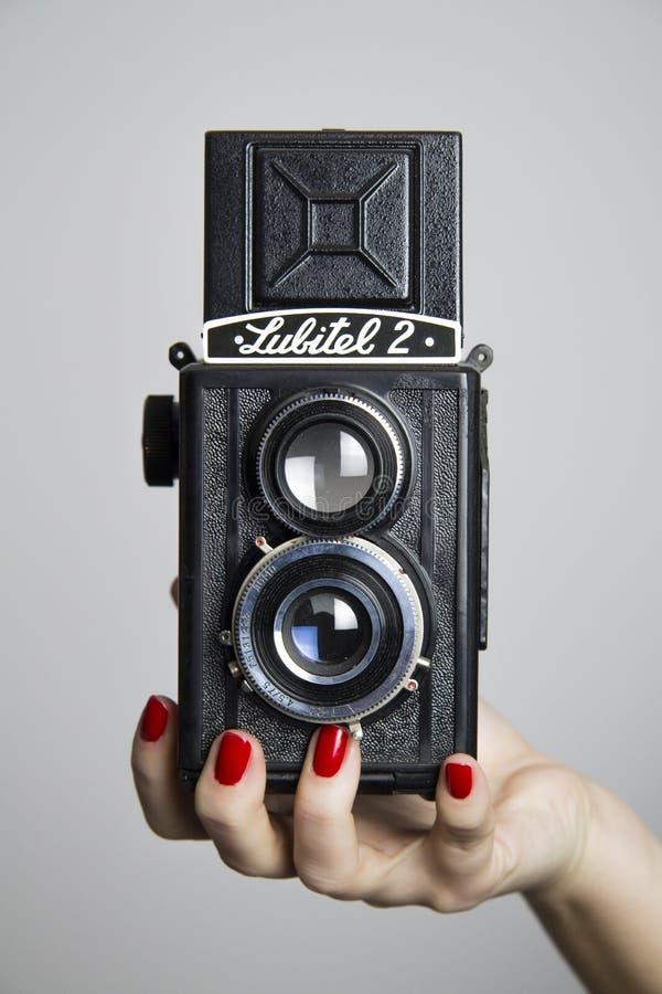 Câmera análoga retro do vintage fotos de stock royalty free
