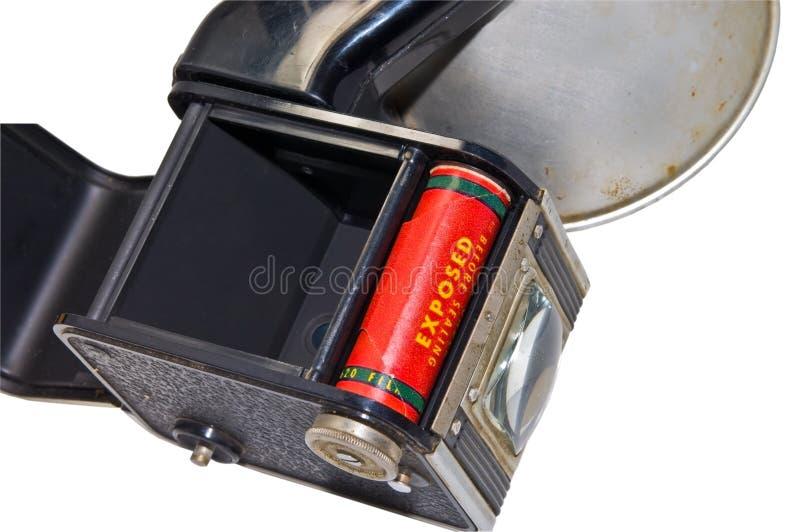 Câmera antiga com película imagens de stock
