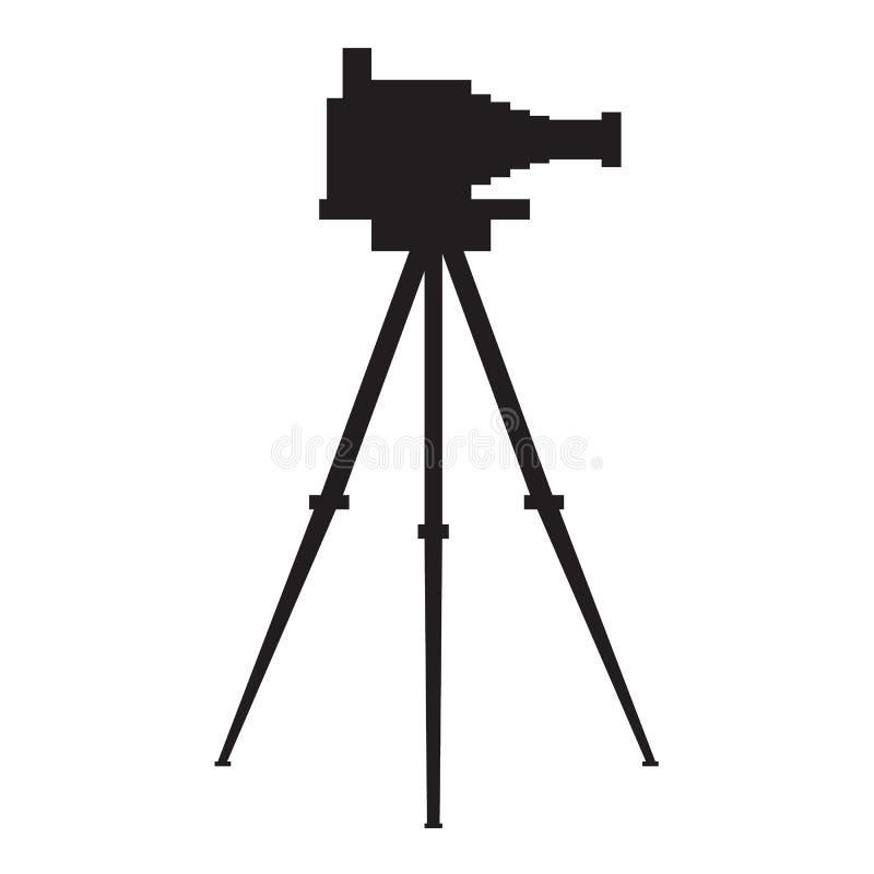 Câmera antiga velha da foto com silhueta do tripé Ilustração lisa do vetor da cor ilustração do vetor