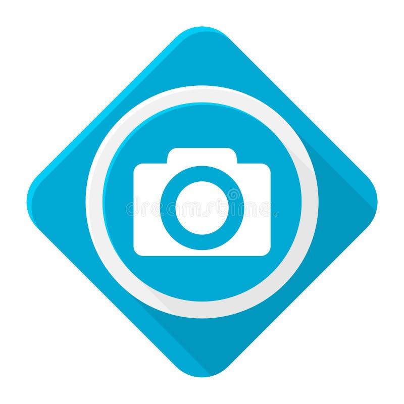 Câmera azul do ícone com sombra longa ilustração royalty free