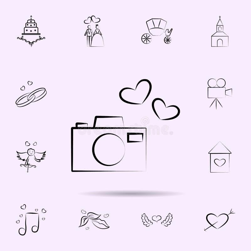Câmera com ícone dos corações Grupo universal de casamento para o projeto do Web site e o desenvolvimento, desenvolvimento do app ilustração stock