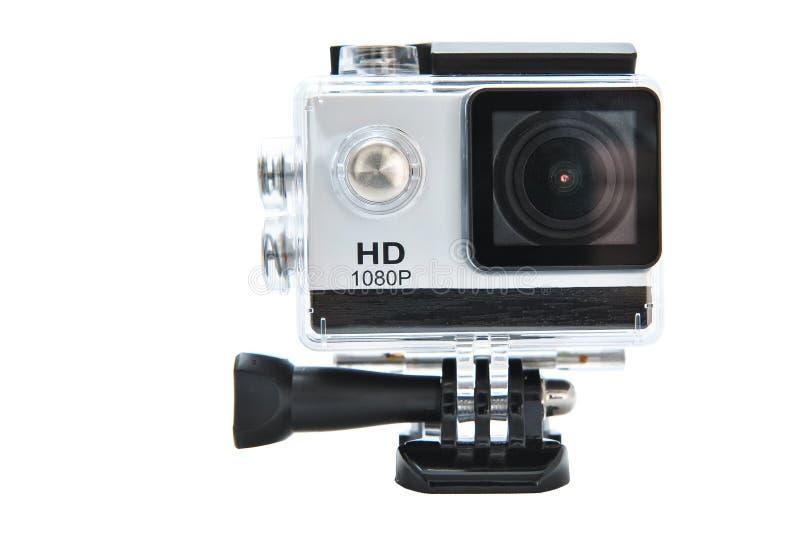Câmera completa da ação de HD 1080p no alojamento impermeável imagem de stock royalty free