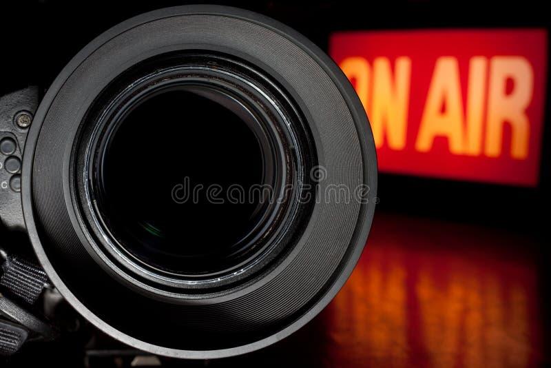 Câmera da película da televisão fotografia de stock