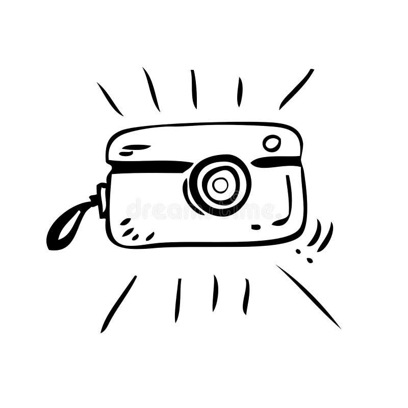Câmera de bolso efervescente do vintage do esboço simples da tração da mão, isolada no branco ilustração royalty free