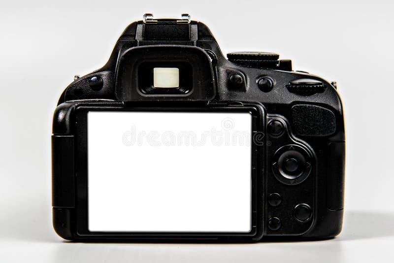 Câmera de DSLR com a tela vazia para a colocação fotos de stock