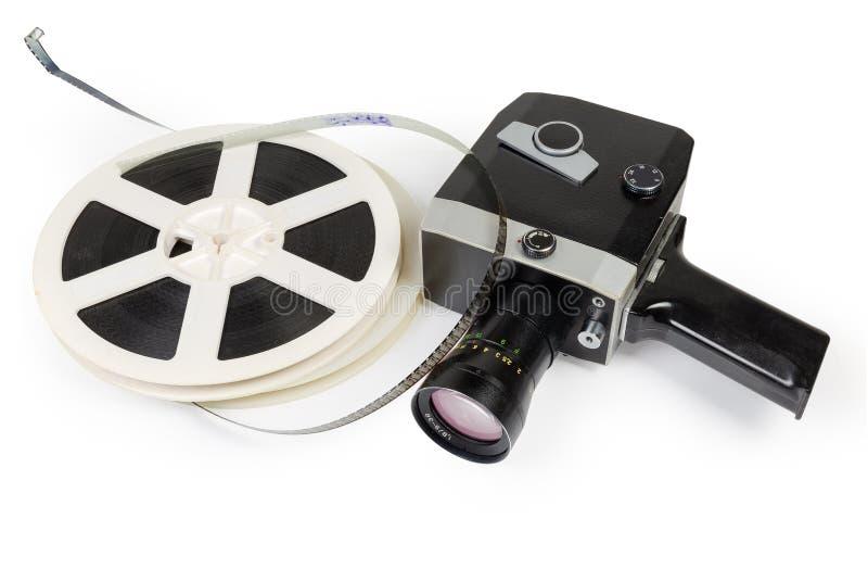 Câmera de filme do vintage e carretéis amadores de filmes super de 8mm fotografia de stock